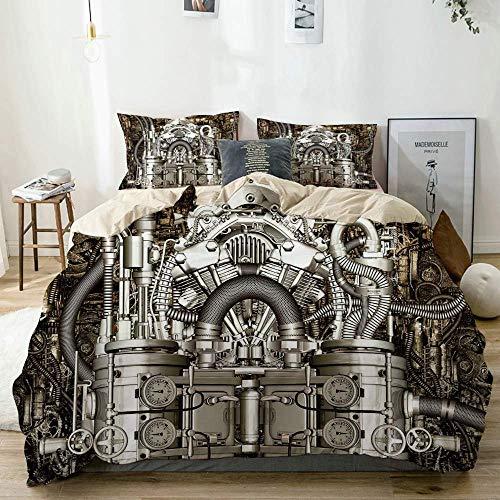 Set copripiumino Beige, motore a due cilindri Ingegnere Motori Amanti delle automobili Immagine ispirata, Set di lenzuola decorative a 3 pezzi con 2 federe per cuscino