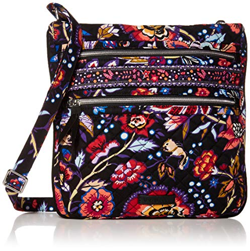Vera Bradley Signature Cotton Triple Zip Hipster Crossbody Purse, Foxwood