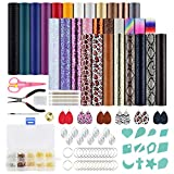 AK KYC Leather Earring Making Kit 30 Pieces Faux Leather Sheets Earring Cut Molds and Tools Jumps Rings Earring Hooks for Making Leather Earrings Bows and Crafts