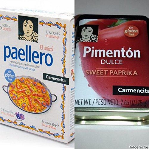 Paellero Carmencita: Miscuglio di spezie con zafferano per Paella + 75gr. Paprika dolce
