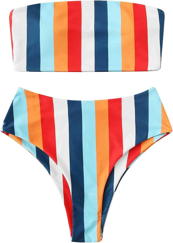 Xiloccer Swimsuits for Women Bikini Two Piece Swimsuit Cute Bathing Suits Beach Cover Ups Swimwear Bandeau Swimsuits