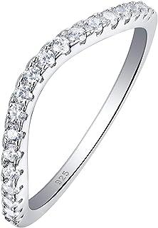 خواتم الزواج المنحنية من Newshe للنساء من الفضة الإسترلينية خواتم الخالصة Cz Wishbone مقاس 5-12