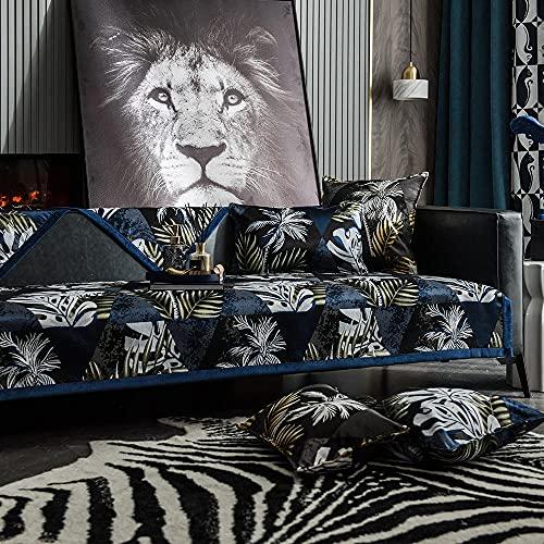 Homeen Cubierta de Sofá de Arte Premium,Cubierta de Sofá de Decoración para Café/Tienda/Estudio/Salón,Tela Sofá Antideslizante Escudo-Azul_110 * 160 cm