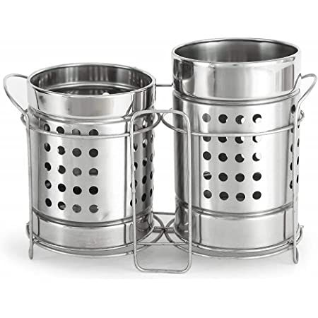 C (DEVICE) Stainless Steel Spoon Stand/Cutlery Holder ( combo pack of 2 ) big size