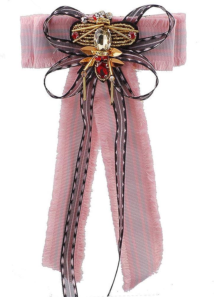 Vpang Crystal Award Bee Ribbon Bow Tie Insect Brooch Great interest Ri Pin