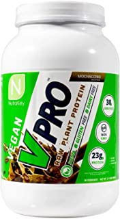 NutraKey V-Pro, Raw Plant Based Protein Powder with 23g of Protein, (Mocha) 2-Pound