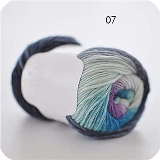 50g/Ball Worsted Section Dyed Rainbow Yarn 100% Pure Wool Yarn for DIY Hand Knitting Crochet Shawl Scarf Thread XD003,N07