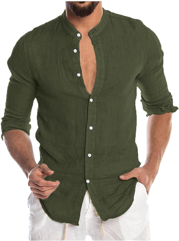 KEEYO Men's Cotton Linen Button Down Dress Shirts Long Sleeve Casual Hippie Beach Yoga Tops Chambray Dress T-Shirt