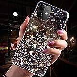 Uposao Kompatibel mit iPhone 11 Hülle Glitzer Diamant Sterne Glänzend Kristall Strass Bling Schutzhülle Crystal Clear Silikon Durchsichtig Hülle Superdünn TPU Bumper Tasche,Schwarz