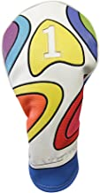 Majek Retro Golf Headcover Limited Edition Vintage Leather Style Psychedelic Colorful Groovy Custom Design 1 Driver Head Cover Fits 460cc Drivers