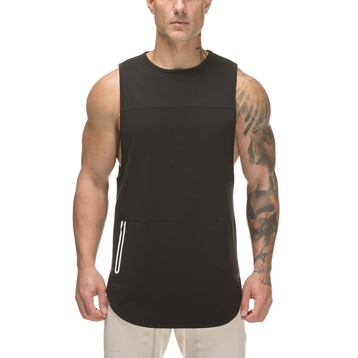 契約印象的エージェントChange トレーニングタンクトップ メンズ ジム ノースリーブ 筋トレ フィットネス ウェア コットン 黑 白