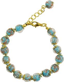 Genuine Venice Murano Sommerso Aventurina Glass Bead Strand Bracelet in Turquoise 8+1