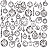 100g(about 50pcs) Mixed Alloy Clock Face Charms Pendant Steampunk Gears Wheel Cog Charms Findings for Crafting Jewelry Making, Antique Silver