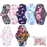 Simfamily 7 Pcs Menstrual Pad Set Including 1Pc Mini Wet Bag And 6Pcs Regular Flow Menstrual Pads Cloth Mama Sanitary Napkin Pads Resuable Waterproof