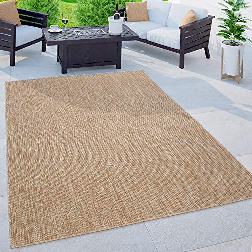 Paco Home Alfombra Exterior Interior Balcón Terraza Alfombra Cocina Monocolor Jaspeado, tamaño:140x200 cm, Color:Naturaleza