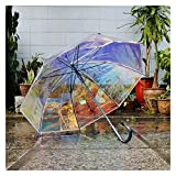 ZHEMAIE Paraguas que cambia de color con mango largo, transparente, paraguas de lluvia, sombrilla para niña (color : B)