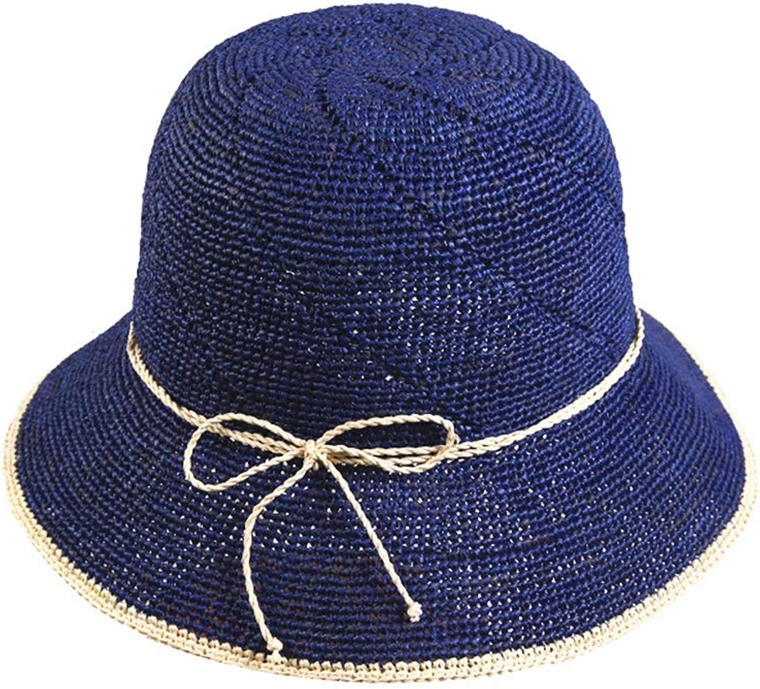 Women's Straw hat Women's Summer Seaside Sun Hat Travel Vacation Straw Hat Outdoor Beach Hat Straw (color   bluee)