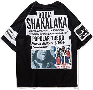 Dere (デーレ) メンズ Tシャツ シャツ カジュアル ストリート HIP-HOP ダンス トレンド 半袖 韓流 黒 白