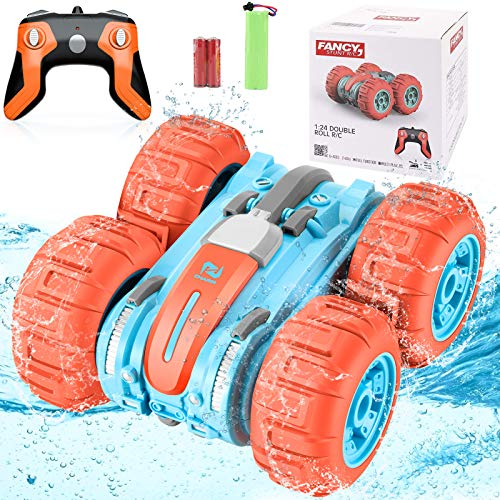AMENON Amphibious Remote Control Car Kids Toys, 3 in 1 Land Water Snow RC Stunt Car Boat Waterproof 360° Rotating 4WD Rechargeable Off Road Truck Boys Girls 6 Years Old & Up Xmas Holiday Toy Gifts