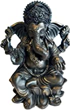 """RK Collections 6"""" Lord Ganesh Statue/Ganesha Statue in Elegant Matt Black and a Touch of Brushed Bronze Finish. Premium St..."""