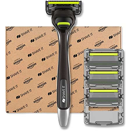 Shave It - Rasoio a 6 lame da uomo, con manico e 4 lame