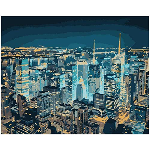 BPAINTF Pintura by Numbers DIY New York Night View Landscape Canvas Art Painting by Numbers Deco Painting 60X75cm DIY Framed