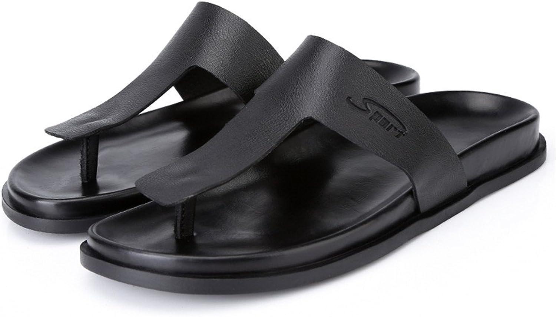 2019 M än Slippers herrar Soft No -Slip Sandstrand Sandstrand Sandstrand skor Flip -Flops Casual Style Genuine läder Sandals (Färg  svart, Storlek  7 D (M) US)  2018 senaste