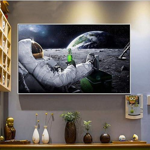 barato en alta calidad OFVV Parojo Arte impresión impresión impresión Astronauta Cerveza Cartel en la Luna Pintura de la Lona para Sala de Estar Home Decor Frameless Sala de Estar Dormitorio nórdico Pintura Decorativa núcleo,100X60cm  tienda en linea