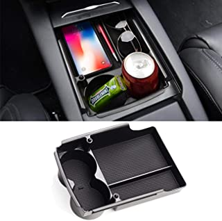 Jaronx for Tesla Model S/Model X Center Console Storage Box, Insert Organizer Tray+Cup Holder (Fit: Tesla Model S/Model X ...