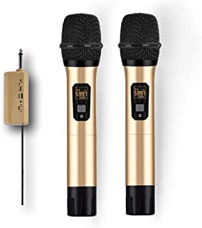 Wireless Microphone System, UHF Dual Handheld Dynamic Mic Set with Rechargeable Receiver, 1/4