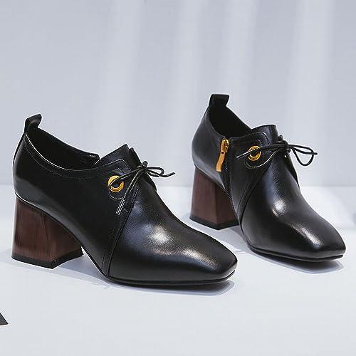 DIDIDD Chaussures de Femmes de Printemps Petites Chaussures à Talons Hauts Frais Station Européenne Chaussures de Femmes Simples Chaussures Carrées avec Les Chaussures à Semelle,Noir,35