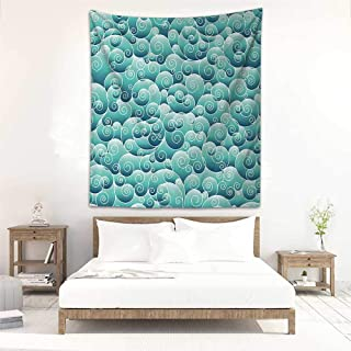 Godves Decorative Tapestry Teal Decor Collection Spirals Swirl Patterns Abstract Waves Wind Ornamental Decorating Artwork Print Living Room Background Decorative Painting 70