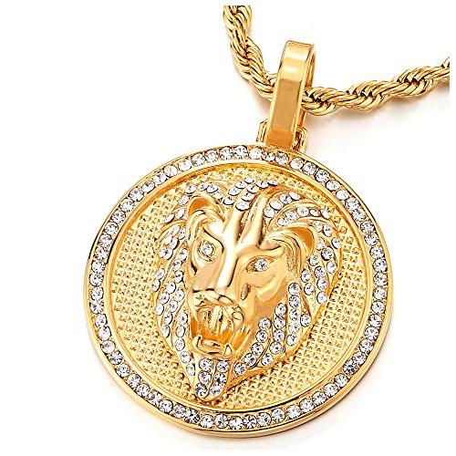 COOLSTEELANDBEYOND Color Oro Cabeza de León con Circonio Cúbico, Círculo Collar Colgante de Hombre Mujer, Acero Inoxidable con 75cm Cadena Cuerda