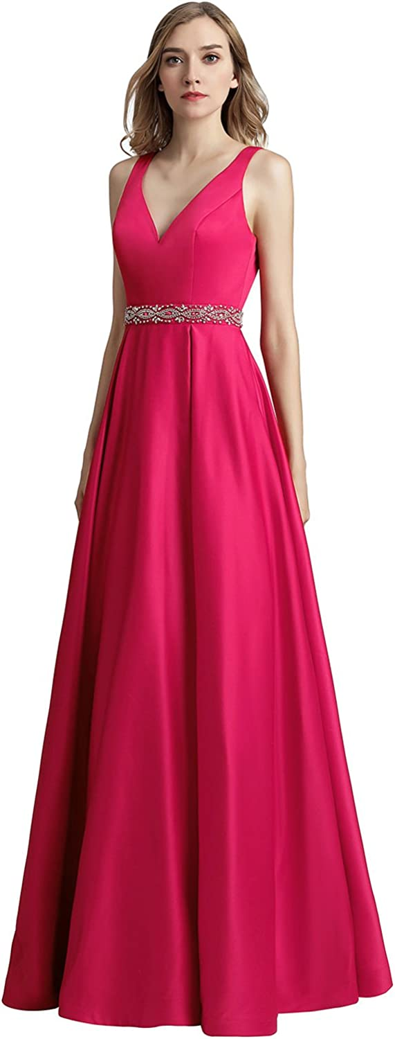 Sarahbridal Women's V Neck Long Prom Dresses Floor Length Satin Party Evening Gowns
