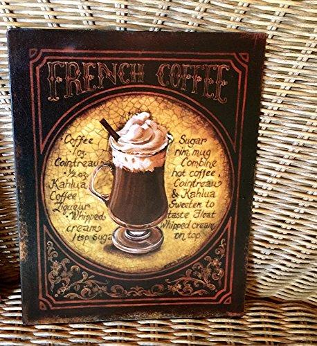 Antikas - Cafe Schild wie Emaille Bild für die Küche, Blechschild French Coffee Kaffee
