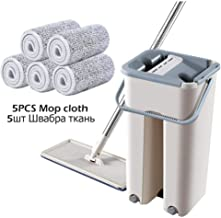 Flipping Flat Mop Floor Mop Free Hand Washing Flat Mop with Bucket Lazy 360 Rotating Magic Mop with Squeezing Floor Cleane...