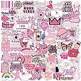 100 Pink VSCO Stickers, Aesthetic Stickers, Cute Stickers, Laptop Stickers, Vinyl stickers, Stickers for Water Bottles, Waterproof stickers for kids teen girls, Christmas teen girl gifts sticker packs