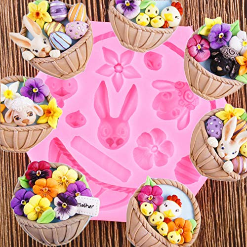 JINGZHONG 3D Flower Basket Silicone Mould Cake Fondant Decoration Easter Bunny Egg Molds Candy Clay Chocolate Gumpaste Moulds