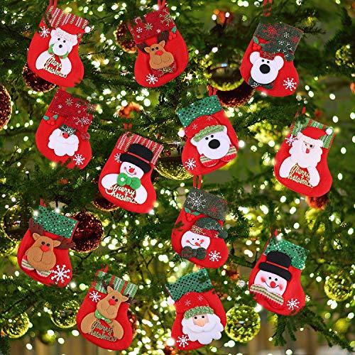 12 Piezas de Mini Calcetines Medias de Navidad Pequeñas Bolsa de Regalos y Dulces Calcetines Colgantes Funda de Vajilla para Decoración de Árbol de Navidad, Hogar, Jardín y Muestra de Ventana