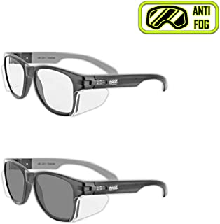 MAGID Iconic Y50 Design Series Safety Glasses with Side Shields DualPak, Clear & Grey Lens (2 Pair)