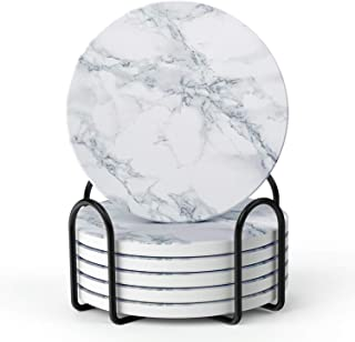 LIFVER Coasters for Drinks, White Marble-style Absorbent Coasters with Holder, Housewarming Gifts for Home Decor, Suitable for Kinds of Cups, 4 Inches, Set of 6