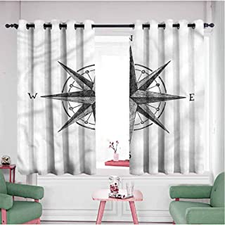 Mannwarehouse Grommet Curtains for Bedroom,Blackout Draperies/Drapes for Window, Compass - Seamanship Sail Symbol, Sliding Door Insulated Curtains - Set of 2 Panels, 55