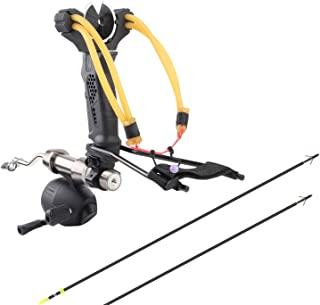 YuXing TOY Professional Hunting/Fishing Slingshot Include Fishing Reel Set Include 2 Arrows (35 Inch, Alloy Arrow with Fiberglass Shaft)