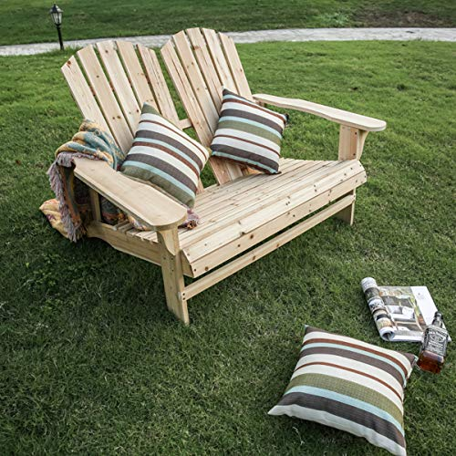 Patio Festival Wooden Double Adirondack Chairs Loveseat, Outdoor Fir Unpainted Wooden Adirondack Loveseat for Outdoor, Garden, Lawn, Deck Chair, 2-Person Seat,Natural Color