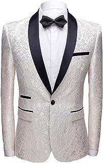 Allthemen Men's Luxury Casual Blazer Slim Fit Paisley Floral Jacquard Suit Jackets Stylish Coats Chic Jackets (White, Small)