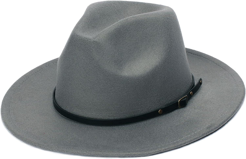 Womens Classic Wide Brim Floppy Panama Hat Belt Buckle Fashion Wool Fedora Hat