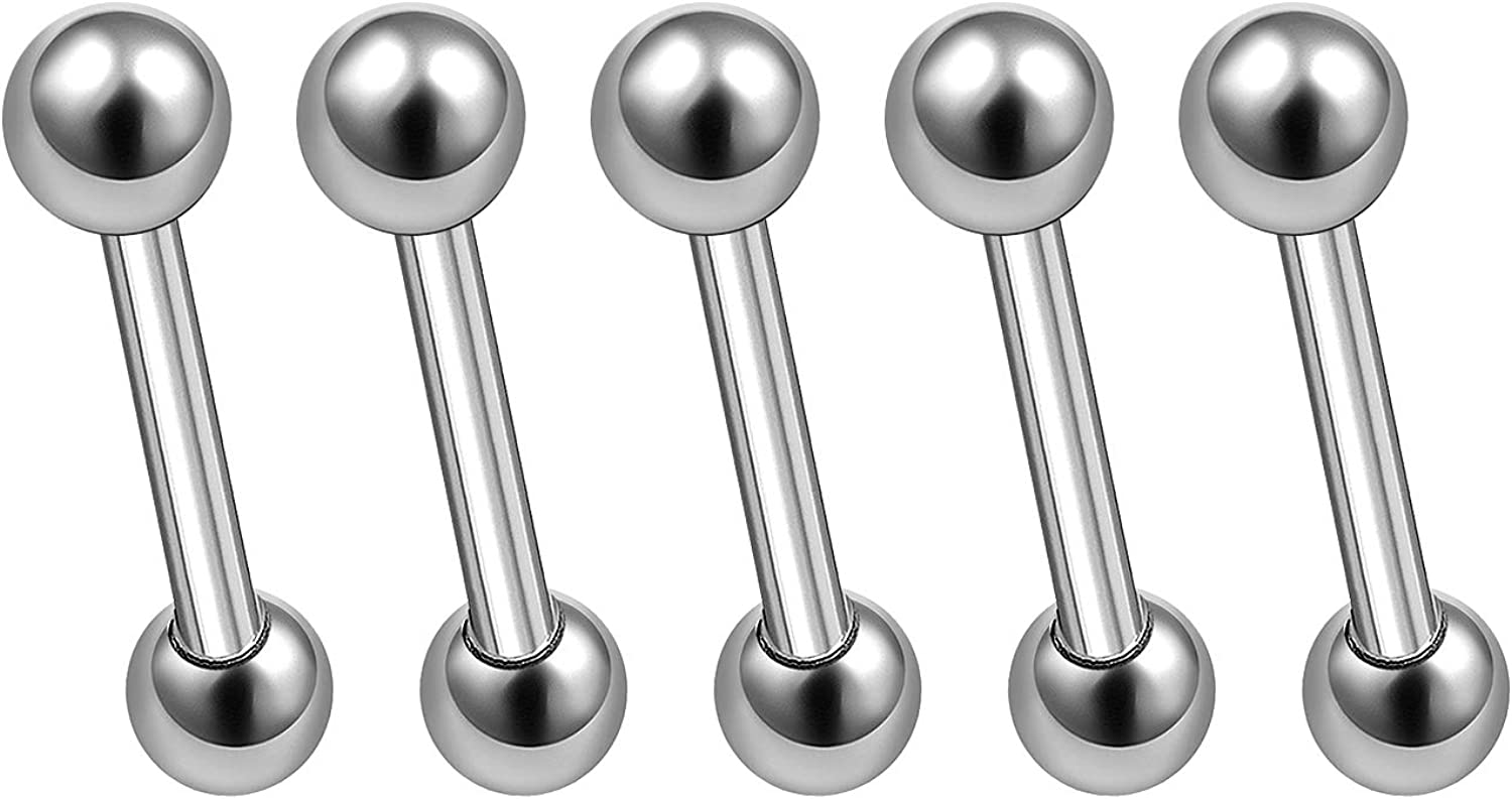 MATIGA 5Pcs Surgical Steel 16g Short Barbell Stud Piercing Jewelry Eyebrow Daith Cartilage Tragus Rook 3mm Ball Cone More Choices