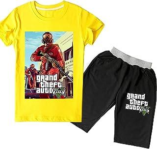 Proxiceen Grand Theft Auto – Camiseta elegante + pantalones cortos y ropa infantil para niños y niñas