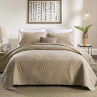 MZW Colchas de algodón nórdico Juego de sábanas Acolchadas Bordadas Americanas de Tres colchas Colcha Lisa, 173x218cm 3 Piezas