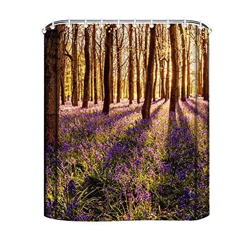 Rideau de douche GD-Designs - Motif : forêt - Avec crochets - En polyester - Étanche - Lavable en machine, Polyester, D, 165x180cm